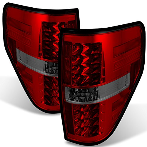 For 09-14 Ford F150 Pickup Truck Rear Red Smoke LED Tail Lights Brake Lamps Taillamps Replacement Pair