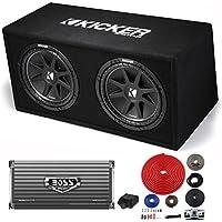 Kicker DC122 Dual 12 600W Car Subwoofers + Box + 2000W MONO Amp + 4 Ga Amp Kit