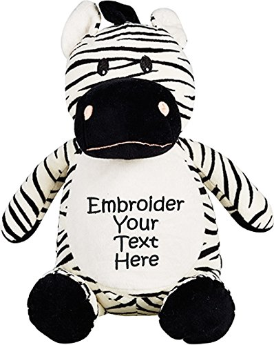 Personalized Stuffed Zebra with Four Lines of Embroidery