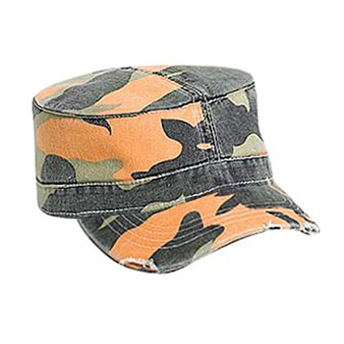 Otto Caps Camouflage Superior Garment Washed Cotton Twill Distressed Visor Military Style Cap