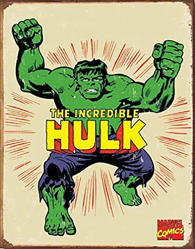 Hulk Hero Marvell Comics Retro Vintage Decor Tin Sign12.5 in Wx16 in H (Green Tin Sign)