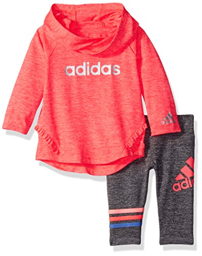 adidas Baby Girls' NEON Melange Hooded Set,Bright Red,18 M