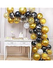 PartyWoo Ballon Noir Dore Blanc, 70 pcs Ballons Dorés, Ballon Blanc, Ballons Noir et Ballon Noir Marbré, Ballons Or et Noir, Ballons Noirs et Or, Ballon Noir et Dore pour 1920s Party, Fete Gatsby