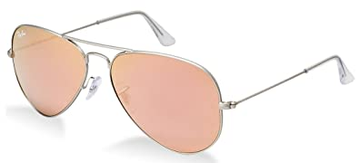eaf42020520975 Amazon.com  Ray-Ban Aviator Sunglasses Matte Silver Pink Mirror (019 ...