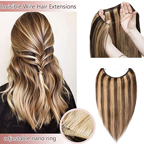 Hidden Invisible Crown Human Hair Extensions One Piece Secret Miracle Wire In Hairpiece With Transparent Fish Line Headband No Clips No Tape For Women #4P27 Medium Brown&Dark Blonde 18'' 65g