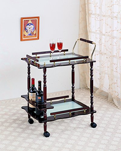 Glass Top Serving Cart - Coaster Traditional Merlot Serving Cart with Frosted Glass Top and Casters