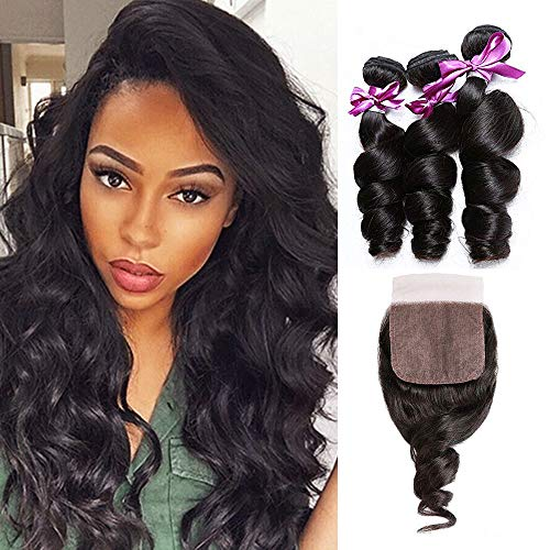 Luduna Hair Bundles with Closur Unprocessed Brazilian Virgin Hair Loose Wave 3 Bundles with Closure Remy Human Hair Wave (10 12 14+10, Natural Color)