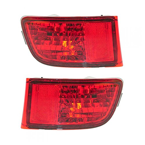 Rear Bumper Reflector Lens Red Pair Set of 2 for 03-05 Toyota 4Runner ()