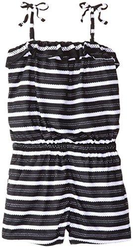 UPC 885381470167, Pink House Big Girls' Eyelet Stripe Color Romper, Black/White, 7/8