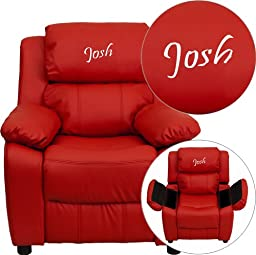 Flash Furniture Personalized Deluxe Heavily Padded Red Vinyl Kids Recliner with Storage Arms