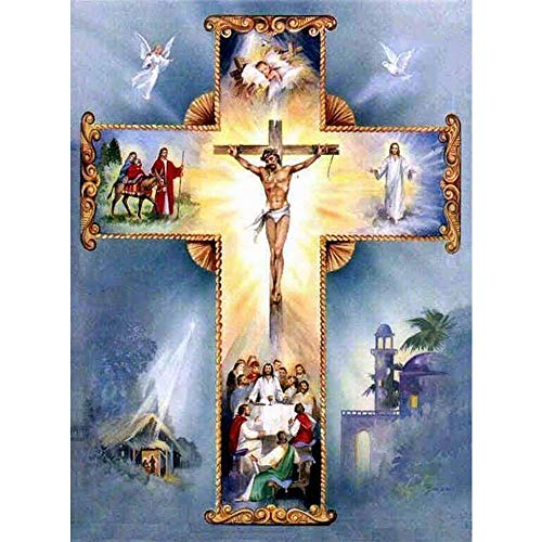 Diamond Painting 5D Religious Jesus Cross Full Round Diamond Cross Stitch Needlework Home Decoration Art Crts Crpsen (49X39CM/19.3