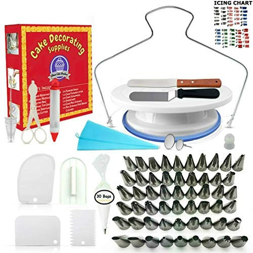 Cake Decorating Supplies - (100 PCS SPECIAL CAKE DECORATING KIT) With 55 PCS Numbered Icing Tips, Cake Rotating Turntable and More Accessories! Create AMAZING Cakes With This Complete Cake -