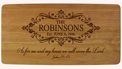Personalized Wedding Anniversary Gifts Family Name with Established Year Signs Engraved Solid Cherry Cutting Cheese Board Custom Verse As for Me and My House We Will Serve the Lord Joshua 24:15