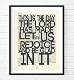 This is the Day the Lord has Made -Psalm 118:24 Christian ART PRINT, UNFRAMED,Vintage Bible page verse scripture wall & home decor poster, Inspirational gift, 8x10 inches