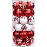 Sea Team 60mm/2.36'' Delicate Contrast Color Theme Painting & Glittering Christmas Tree Pendants Decorative Hanging Christmas Baubles Balls Ornaments Set - 30 Pieces (Red & White)