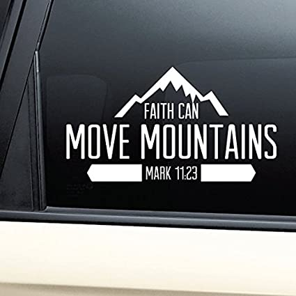 Faith can move mountains christian vinyl decal laptop car truck bumper window sticker