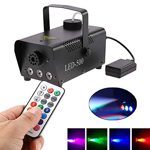 Fog Kit Machine (LED Fog Machine with Remote Control, Stage Fogger Smoke Maker Kit for Wedding Christmas Halloween Birthday Party US Plug 500W RGB)