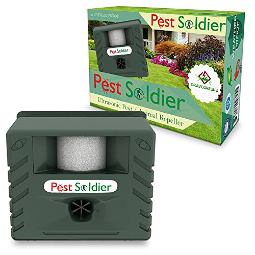 Ultrasonic Garden Pest Repeller (6-in-1 Pest Soldier Sentinel, Outdoor Electronic Pest Animal Ultrasonic Repeller, with Ac Adaptor For Deer Raccoon Rabbits Birds)