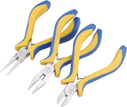 3PCs STEEL ROUND NOSE PLIERS CUTTER BEADING JEWELRY MAKING CRAFT TOOL KIT