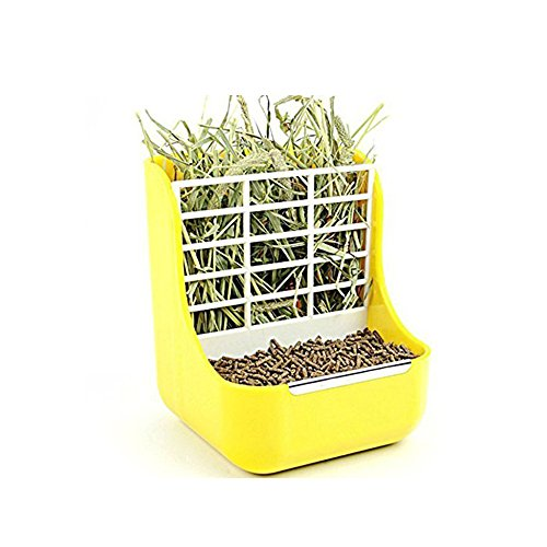 Hay Food Bin Feeder, Small Animal SuppliesHay Food Bin Feeder, Small Animal Supplies Rabbit Feeder Bunny feeder Guinea Pig Feeder Chinchilla Food Feeder - Double use for Grass and Food (YELLOW) by Okared (Image #1)