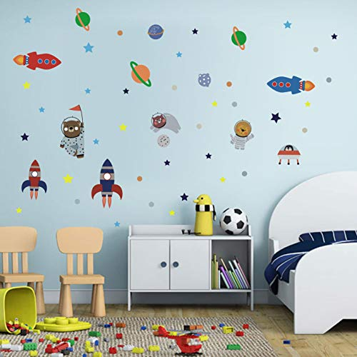 BUCKOO Cartoon Animal Bear Astronaut Wall Decals,Rocket Planets and Stars Outer Space Wall Art Wall Stickers,Nursery Kids Room Gaming Room Wall Decor