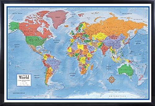 Amazon.com: Swiftmaps 24x36 World Classic Elite 3D Push-Pin Travel Wall Map Foam Board Mounted or Framed (Black Framed): Home & Kitchen