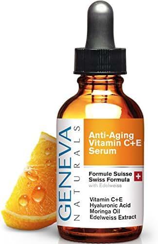 Vitamin C Serum For Face - Anti Aging Hyaluronic Acid Serum with Vitamin A & E - Swiss Skin Care Formula Facial Moisturizer For Women & Men - 1oz