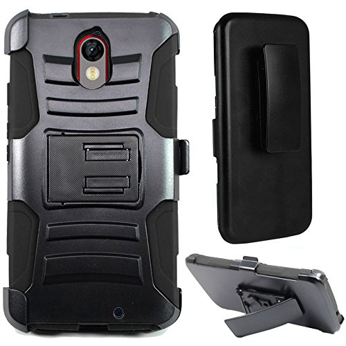 Motorola Droid Turbo 2 Case, Moto X Force Case, Kinzie Bounce Case, SOGA [Muscular Tough Series] Hybrid Super Armor Cover Protector Case with Belt Clip Holster Kickstand - Black/Black