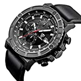 LIEBIG Mens Quartz Watches Chronograph Water Resistant with Black Leather Military Style Wrist Watch