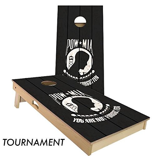 POW-MIA Cornhole Board Set 4' by 2' Tournament size by Slick Woody's Cornhole Co.