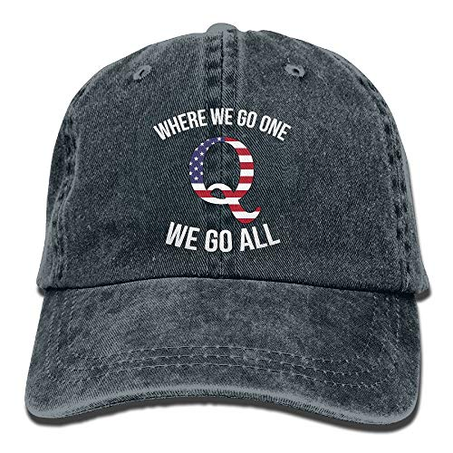 Cotton Washed Twill Sandwich - Q Anon Where We Go One We Go All Vintage Washed Dyed Dad Hat Adjustable Baseball Hat