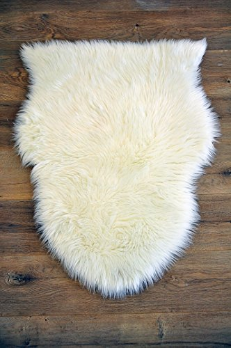Machine Washable Faux Sheepskin White Rug 2' x 3' - Soft and silky - Perfect for baby's room, nursery, playroom (Pelt Small White) by kroma Carpets