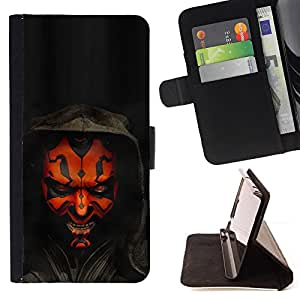 For Sony Xperia m55w Z3 Compact Mini Darth Maul Leather Foilo Wallet Cover Case with Magnetic Closure