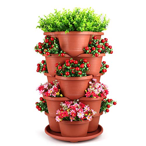 5 Tier Stackable Planter Vertical Garden – Outdoor Indoor Gardening Tower for Growing Strawberry, Tomato, Herbs, Flowers, Vegetables and Succulents – Hanging Planter for Patio, Yard, Lawn, Porch