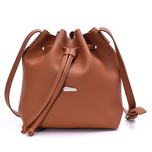 Drawstring PU Small Cross 2 Pieces Set Bags body Bucket Leather Women Purses Artmis Brown rPHqwr