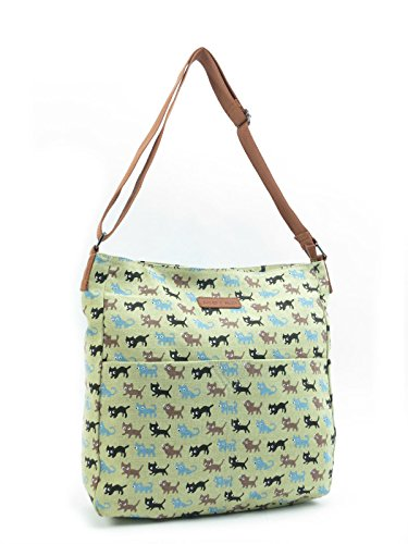 Strap Cats Satchel Girls Cross Shoulder Big Handbag Long Quality Body Green School Bag A4 Messenger xYqTw6aZ