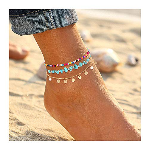 YAHPERN Anklets for Women Girls Color Beads Turquoise Drop Sequin Charm Adjustable Ankle Bracelets Set Boho Multilayer Beach Foot Jewelry (Gold)
