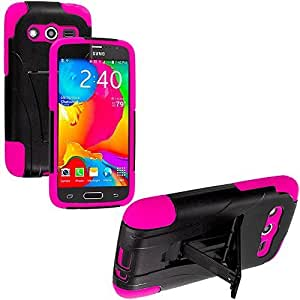 Accessory Planet(TM) Black / Hot Pink Hybrid Heavy Duty Hard/Soft Silicone Case Cover with Stand Accessory for Samsung Galaxy Avant G386