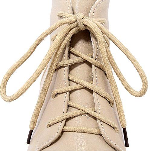 AgeeMi Shoes Mujer Cordones Mini Tacón Puntera Cerrada PU Tacón Grueso Boots Albaricoque