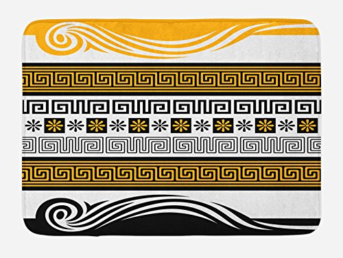 """Ambesonne Greek Key Bath Mat, Neoclassical Borders Composition Meander Pattern and Flowers with Waves, Plush Bathroom Decor Mat with Non Slip Backing, 29.5"""" X 17.5"""", Marigold White"""