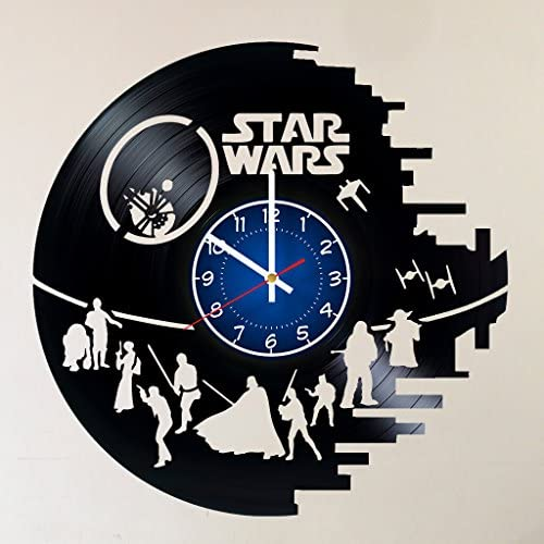 Star Wars Death Star Darth Vader Luke Skywalker 12 inches 30 cm Handmade Vinyl Record Wall Clock HANDCRAFTED 12 inches made from VInyl Record decor for kids bedroom gift for men star wars jedi vs sith