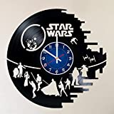 Star Wars Death Star Darth Vader Luke Skywalker 12 inches 30 cm Handmade Vinyl Record Wall Clock HANDCRAFTED 12 inches made from VInyl Record decor for kids bedroom gift for men star wars jedi vs sith Review