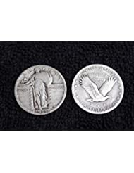 1923-1930 U.S. Standing Liberty Silver Quarter Dollar, (1-Coin) Strong Full Date (1/4) VG and better