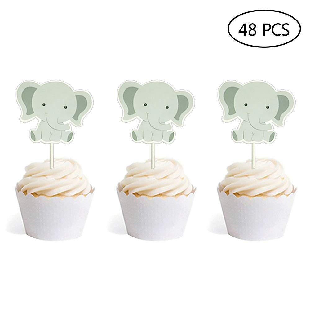 Set Of 48 Cute Baby Elephant Cake Cupcake Toppers For Wedding
