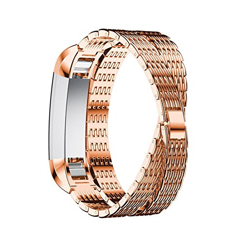 Price comparison product image Alonea Stainless Steel Watch Bracelet Band Strap For Fitbit Alta HR / Fitbit Alta (Gold)
