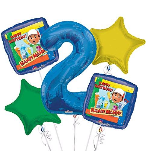 Handy Manny Balloon Bouquet 2nd Birthday 5 pcs - Party (Handy Manny Birthday Party Supplies)