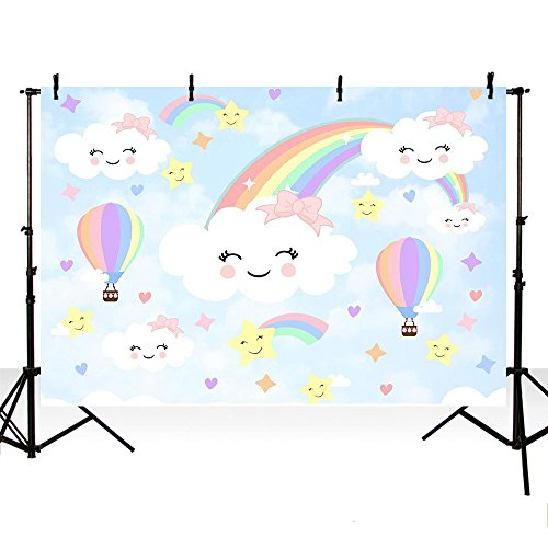 MEHOFOTO Photo Background Cute Newborn Cartoon Colorful Rainbow Balloon Sky White Cloud Birthday Party Decoration Backdrops for Photography 7ftx5ft