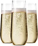 48 Pack Stemless Plastic Champagne Flutes
