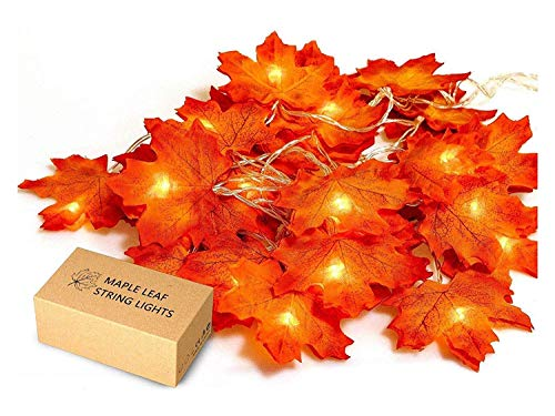 Leaves Light - JamBer Fall Maple Leaf Garland 20 LED Maple Leaves Fairy Lights 8.2 Feet Fall Garland Lights Waterproof Maple Leaf String Lights 3AA Battery Powered Lighted Garland for Party Thanksgiving Decor