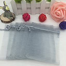 Drawstring Organza Jewelry Favor Pouches Wedding Party Festival Gift Bags Candy Bags (Pack of 100) ( Grey )